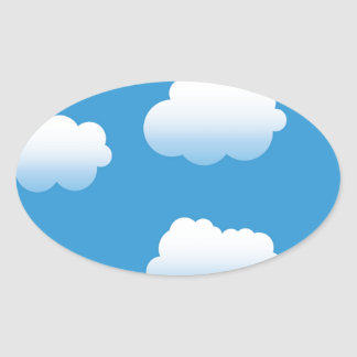 Baby Clue Clouds in the Sky Oval Sticker