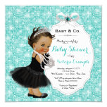 Baby & Co Black Teal Blue Ethnic Baby Girl Shower Card