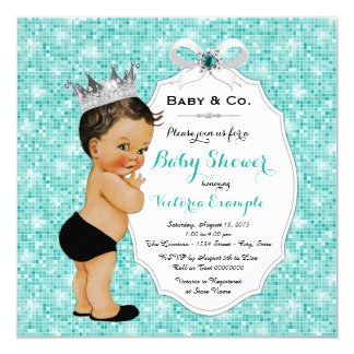 Baby & Co Black Teal Blue Ethnic Boy Baby Shower Card