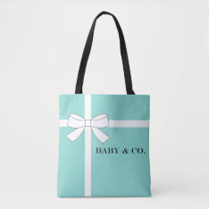 Baby & Co. Blue And White Bow Baby Shower Tote Bag at Zazzle