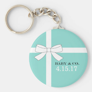 BABY & CO. Blue And White Bow Button Key Chain