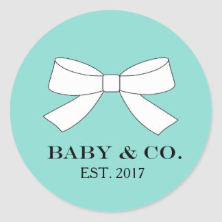 BABY & CO. Blue And White Bow Party Stickers