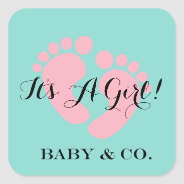 McTiffany Tiffany Aqua BABY & CO It's A Girl Baby Party Stickers