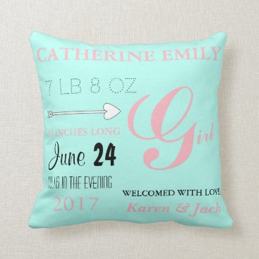 McTiffany Tiffany Aqua BABY & CO Personalize Baby Love Pink & Mint Pillow