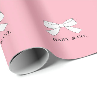 BABY & CO Pink Baby Girl Bows Wrapping Paper