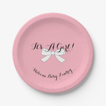 McTiffany Tiffany Aqua BABY & CO Pink It's A Girl Luncheon Party Plates