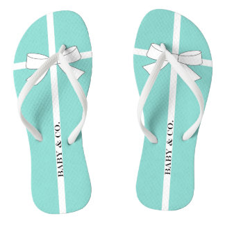 BABY & CO Shower Teal Blue And White Flip Flops