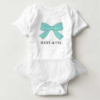 BABY & CO Shower Teal Blue Bow Party Tutu Bodysuit