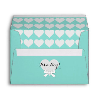 BABY & CO Teal Blue Baby Announcement A7 Envelopes
