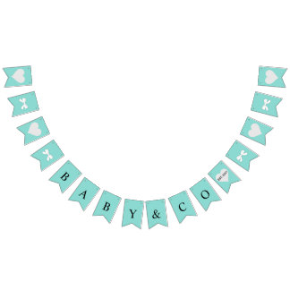 BABY & CO Teal Blue Baby Reveal Bunting Banner