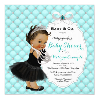 Baby & Co Teal Blue Ethnic Baby Girl Shower Card