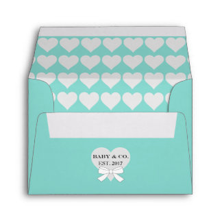 BABY & CO. Teal Blue Party Hearts A2 Envelopes