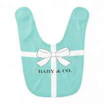 BABY & CO Teal Blue Shower Birthday Party Baby Bib