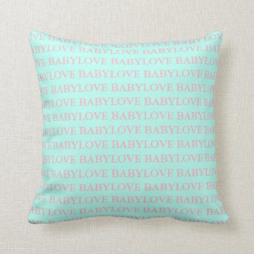 McTiffany Tiffany Aqua BABY & CO. Tiffany Baby Love Pink & Mint Pillow