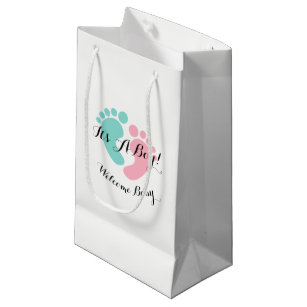 BABY CO Tiny Footprints Baby Reveal Party Favor Small Gift Bag