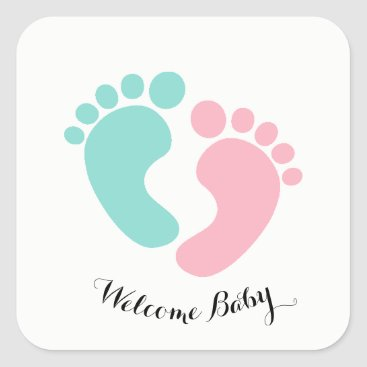 McTiffany Tiffany Aqua BABY & CO Tiny Footprints Baby Reveal Stickers