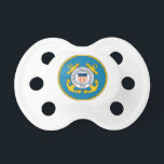 "Baby Coast Guard Pacifier<br><div class=""desc"">Baby pacifier with U.S. Coast Guard Symbol on it. Show your Coast Guard pride!</div>"