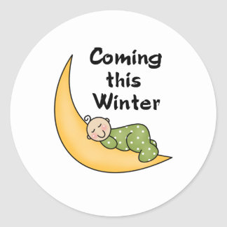 Baby Coming This Winter Classic Round Sticker