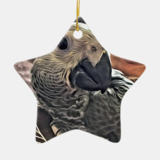 Baby Congo African Grey Parrot Ceramic Ornament