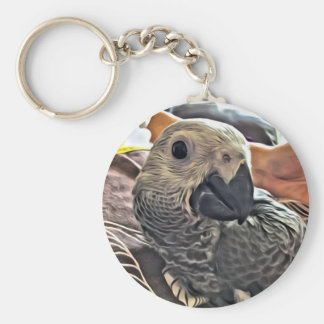 Baby Congo African Grey Parrot Keychain