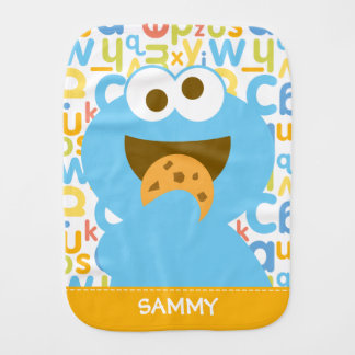 Baby Cookie Monster Eating | Add Your Name Baby Burp Cloth