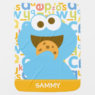 Baby Cookie Monster Eating | Add Your Name Stroller Blanket