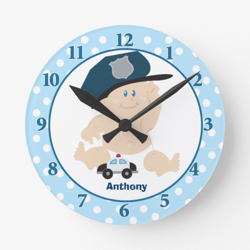Baby Cop Blue Boy Nursery Wall Clock