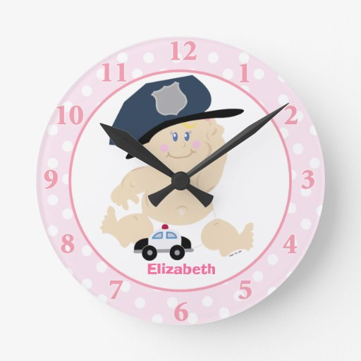 Baby Cop Pink Girl Nursery Wall Clock