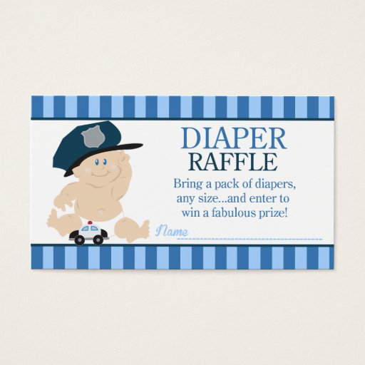 Baby Cop Police Officer Baby Shower Diaper Raffle Business Card