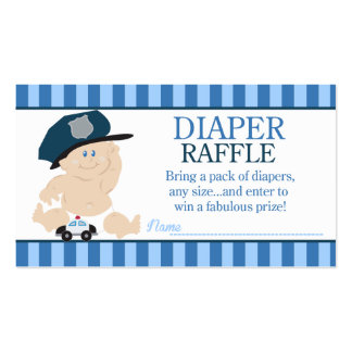 Baby Cop Police Officer Baby Shower Diaper Raffle Double-Sided Standard Business Cards (Pack Of 100)