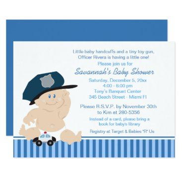 Toddler & Baby themed Baby Cop Police Officer Baby Shower Invitation
