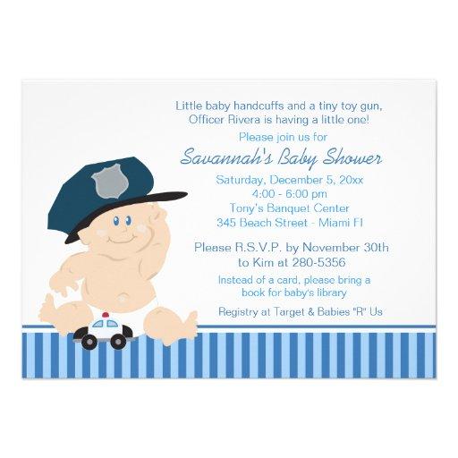 Personalized police baby shower invitations custominvitations4u baby cop police officer baby shower invitation filmwisefo