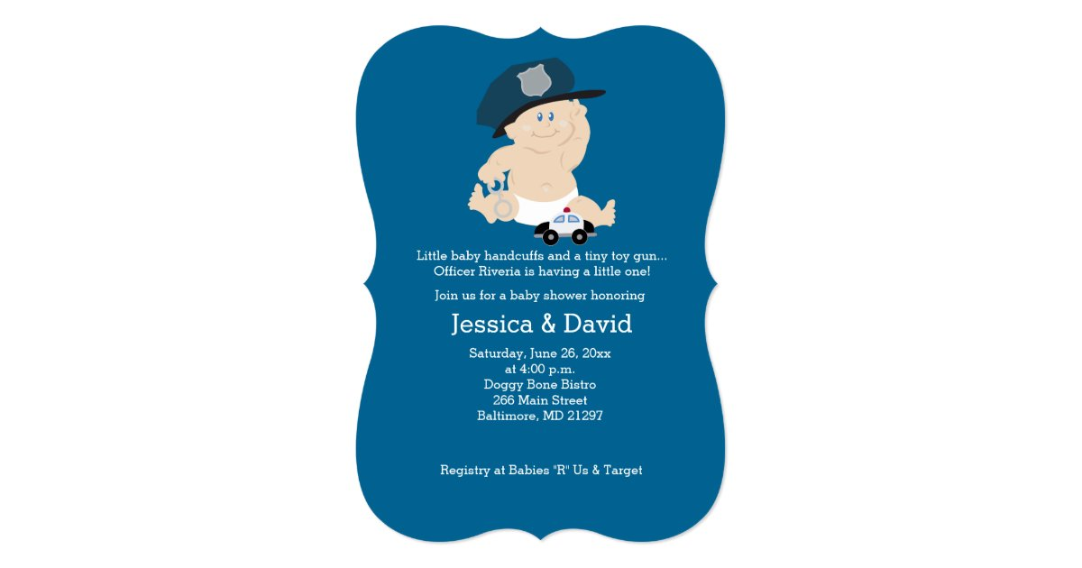 Police baby shower invitations baby cop police officer baby shower invitation zazzle filmwisefo