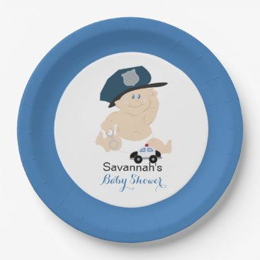 Toddler & Baby themed Baby Cop Police Officer Custom Paper Plate