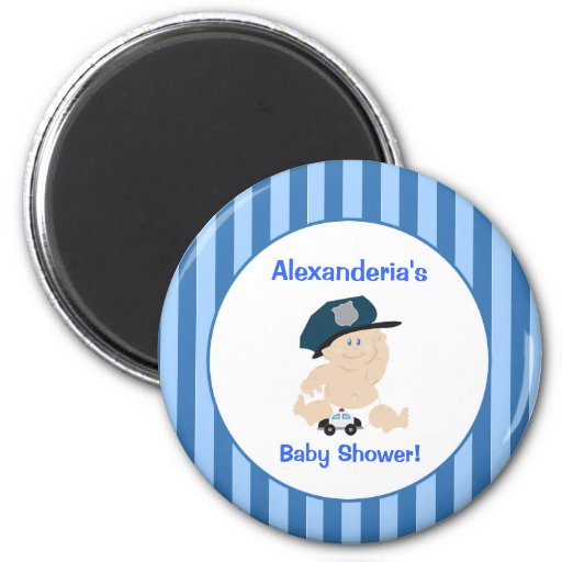 Baby Cop Police Officer Round Custom Favor Magnet