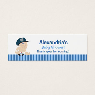 Baby Cop Police Skinny Business Card Favor Tag