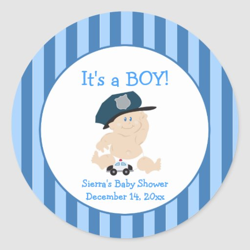 Baby Cop Police (Stripe) Custom Favor Sticker