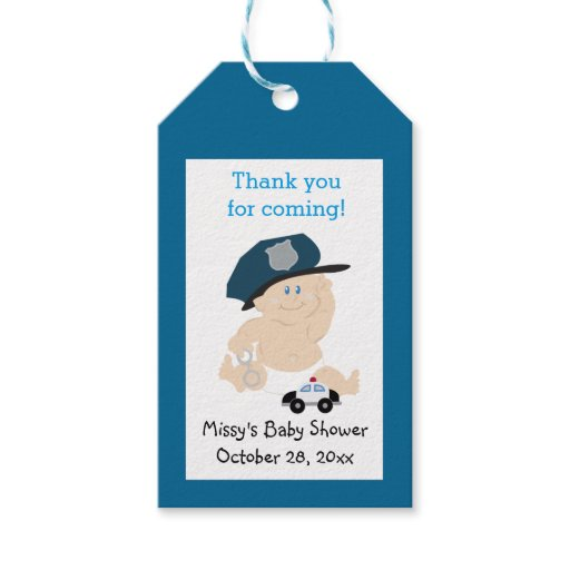 Baby Cop Policeman Custom Gift Tag