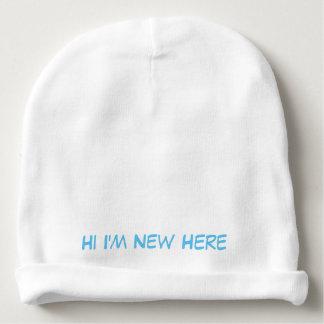 """Baby cotton beanie """"HI IM NEW HERE"""""""
