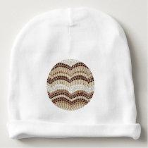 Baby cotton beanie with beige mosaic