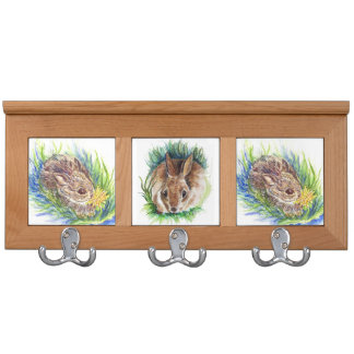 Baby Cottontail, watercolor pencil Coat Rack