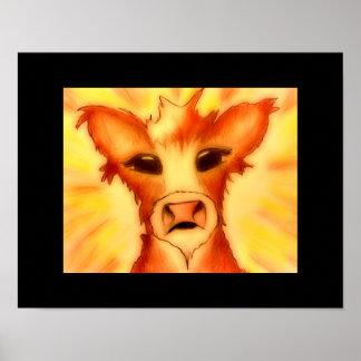 Baby Cow 14 x 11 Poster MOOOOO!
