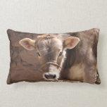 Baby Cow - Brown Baby Calf Close Up Face Lumbar Pillow