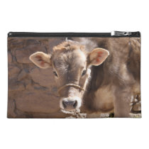 Baby Cow - Brown Baby Calf Close Up Face Travel Accessory Bag