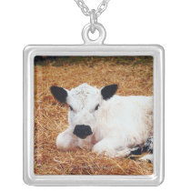 Baby Cow, Calf Silver Plated Necklace