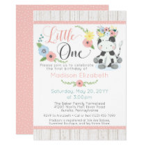 Baby Cow First Birthday Floral Calf on Rustic Wood Invitation