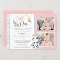 Baby Cow First Birthday Floral Calf Photo Collage Invitation