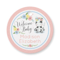 Baby Cow Floral Calf Welcome Baby Shower Party Favor Tags