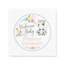 Baby Cow Floral Calf Welcome Baby Shower Party Napkins