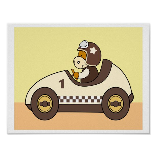 Baby Cow Riding a Racing Car Poster